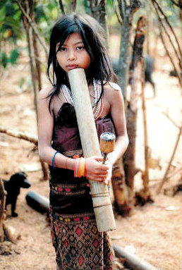 boloven plateau_tribal girl with opium pipe