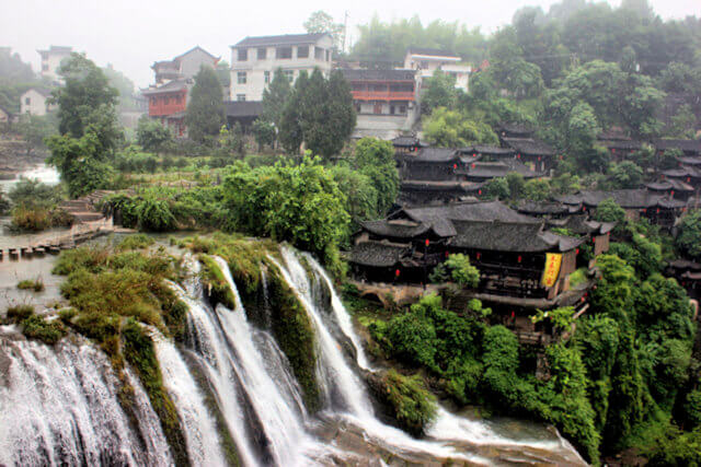 wangcun (furong)_waterfall and tujia chiefs house