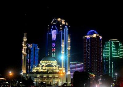 grozny_akhmad kadyrov mosque and skyscrapers