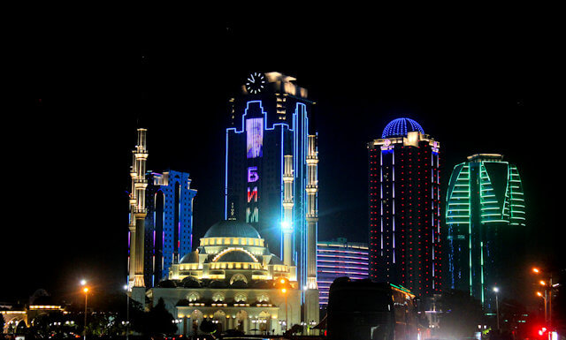 grozny_akhmad kadyrov mosque and skyscrapers